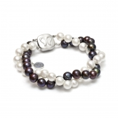 Black and white freshwater pearl brecelet