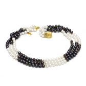 Black and white pearl necklace 'Magic'