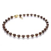 Necklace with thirty chocolate-coloured pearls