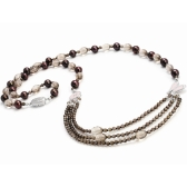 Smoky quartz necklace with freshwater pearls