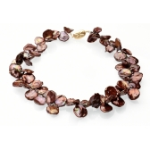 Necklace with chocolate-coloured keshi pearls