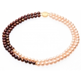 Necklace with chocolate-coloured and orange pearls