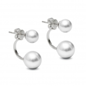 Tandem silver earrings with white pearls