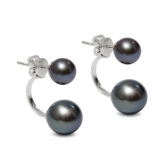 Tandem black pearl earrings