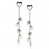 L`Amour silver earrings with white pearls