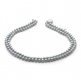 Double strand gray pearl necklace