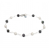 Freshwater black and white pearl necklace