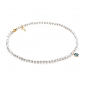 Freshwater white pearl necklace with opal