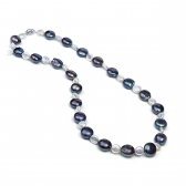 White and black coin pearl necklace