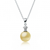 Necklace with pearl champagne color and diamond