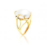 Golden Ring with Heavily baroque pearl