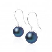 Silver earrings with large black pearls