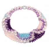 Ellada necklace from amethyst, topaz and rose quartz