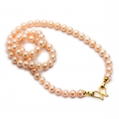 Freshwater orange pearl necklace