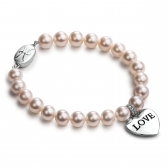 Freshwater pearl bracelet with heart-shaped pendant