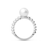 Moon silver ring with white pearl