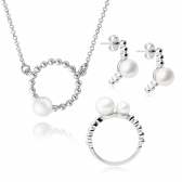 Moon silver set with white pearls