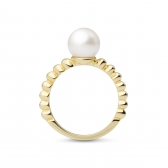 Moon gold-plated silver ring with white pearl
