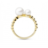 Moon gold-plated silver ring with two pearls