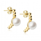 Moon gold-plated silver earrings with white pearls