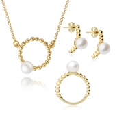 Gold-plated silver Moon set with white pearls