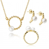 Moon gold-plated silver set with white pearls