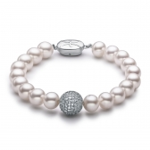 Freshwater white pearl bracelet with jewellery ball