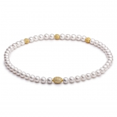 Freshwater pearl necklace with gold-plated jewellery balls