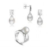 Silver Avant-Garde set with white pearls