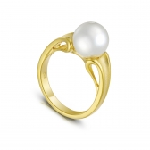 Avant-Garde gold-plated silver ring with white pearl