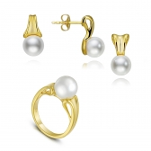 Avant-Garde gold-plated silver set with white pearls