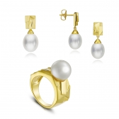 Gold-plated silver set Avant-Garde with white pearls