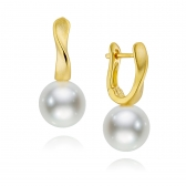 Avant-Garde gold-plated silver earrings with white natural pearls