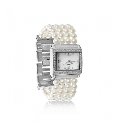 Watches with white freshwater pearls