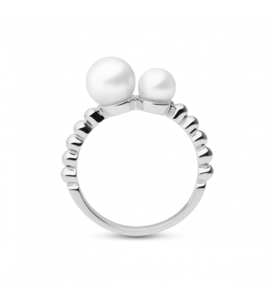 Moon silver ring with two pearls