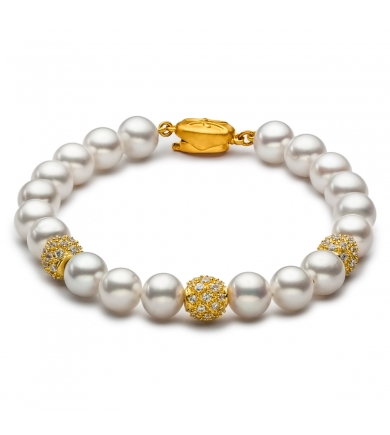 Freshwater pearl bracelet with gold-plated balls