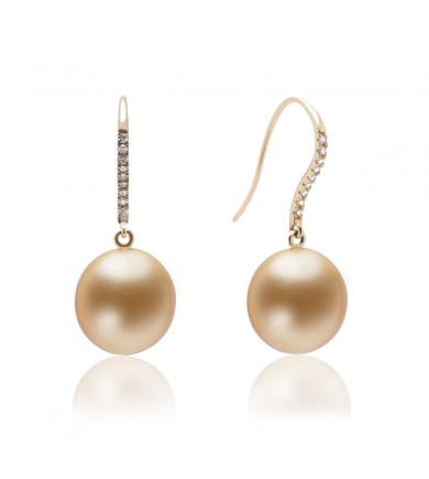 Oreli gold earrings with South Sea pearls and diamonds