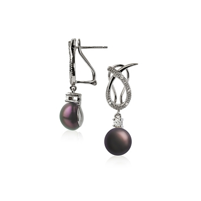 Wave earrings with black pearls . Код 1176