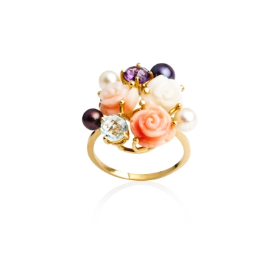 Gold ring with coral, amethyst, topaz and pearls. Код 1938