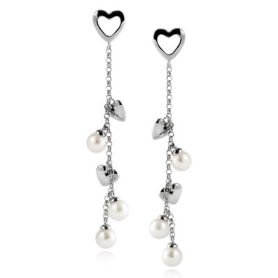 L`Amour silver earrings with white pearls. Код 2130
