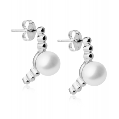 Moon silver earrings with white pearls. Код 2208