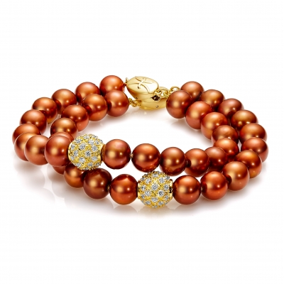 Freshwater chocolate pearl bracelet with gold-plated accents. Код 2232