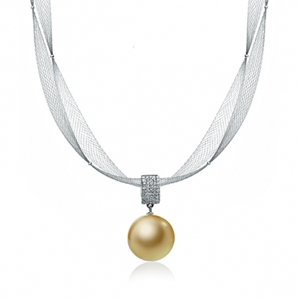 Necklace with South sea golden pearl