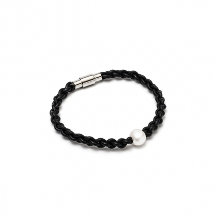 Black bracelet with white pearl