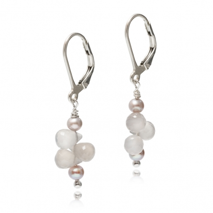 Suri earrings with pearl and agate