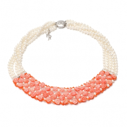Versilia necklace with pearls and corals