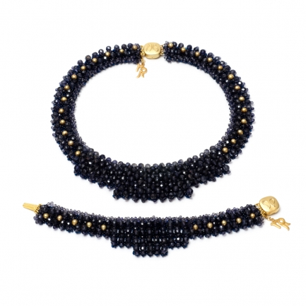 Iolite and pearl Nika set