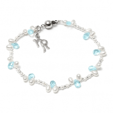 Bracelet with topaz and pearls